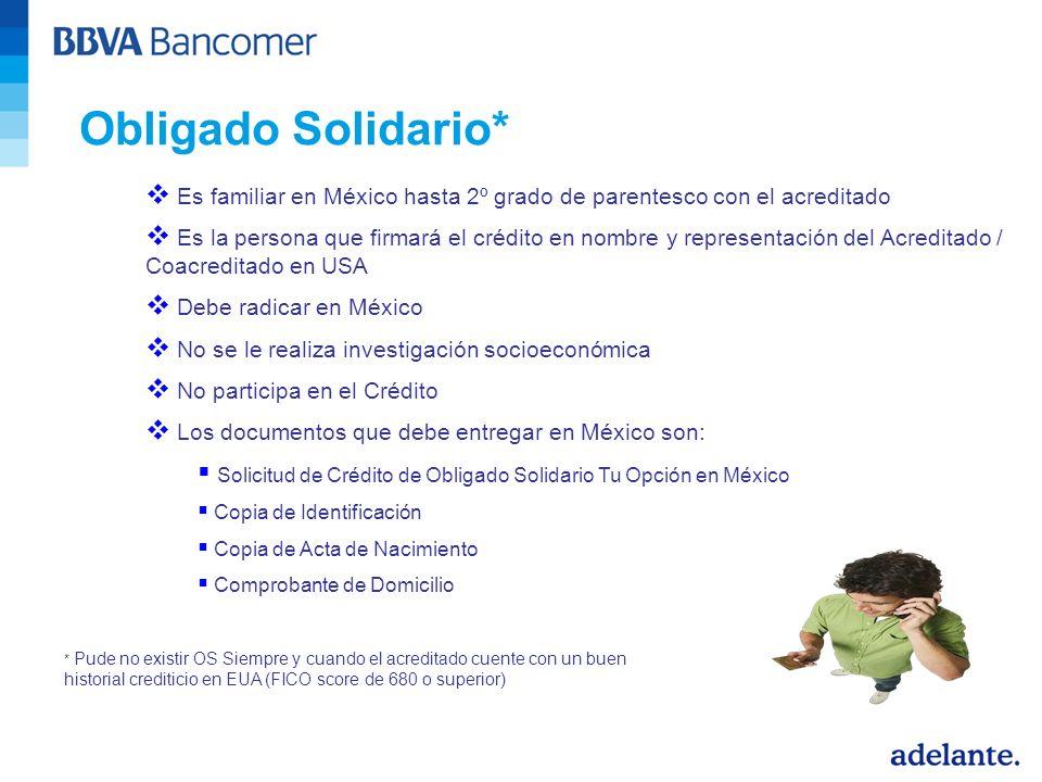 Obligado Solidario* Es familiar en México hasta 2º grado de parentesco con el acreditado.