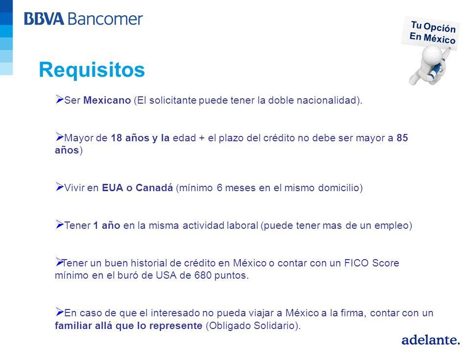 Tu Opción En México. Requisitos. Ser Mexicano (El solicitante puede tener la doble nacionalidad).