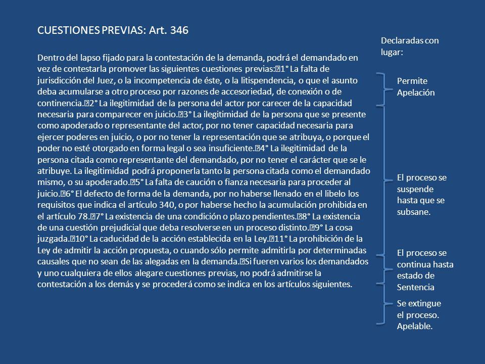 CUESTIONES PREVIAS: Art. 346
