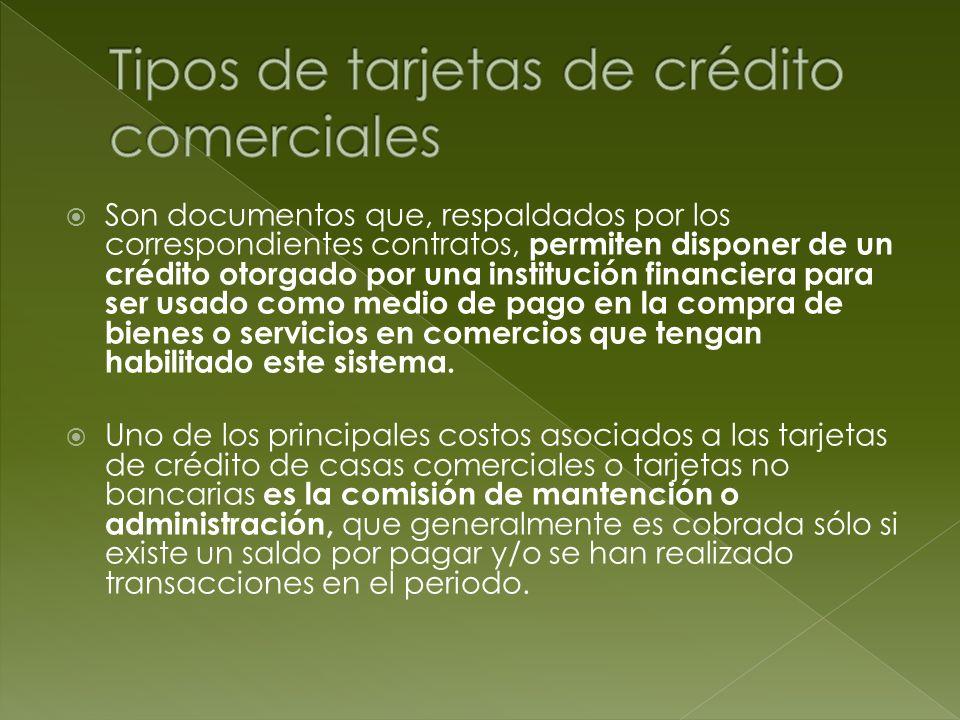 Tipos de tarjetas de crédito comerciales