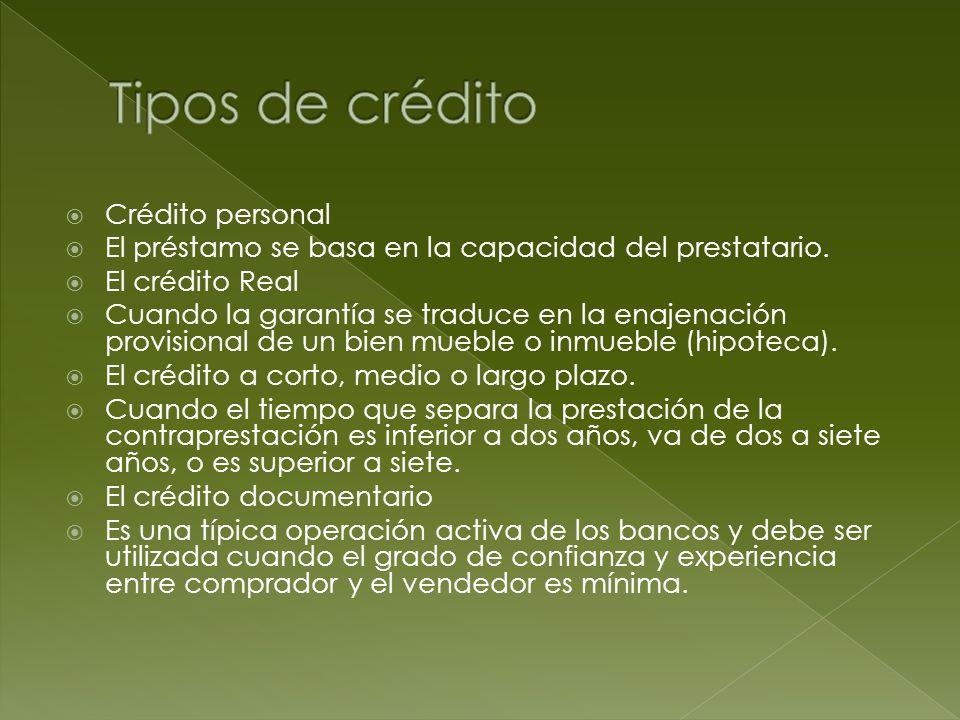 Tipos de crédito Crédito personal