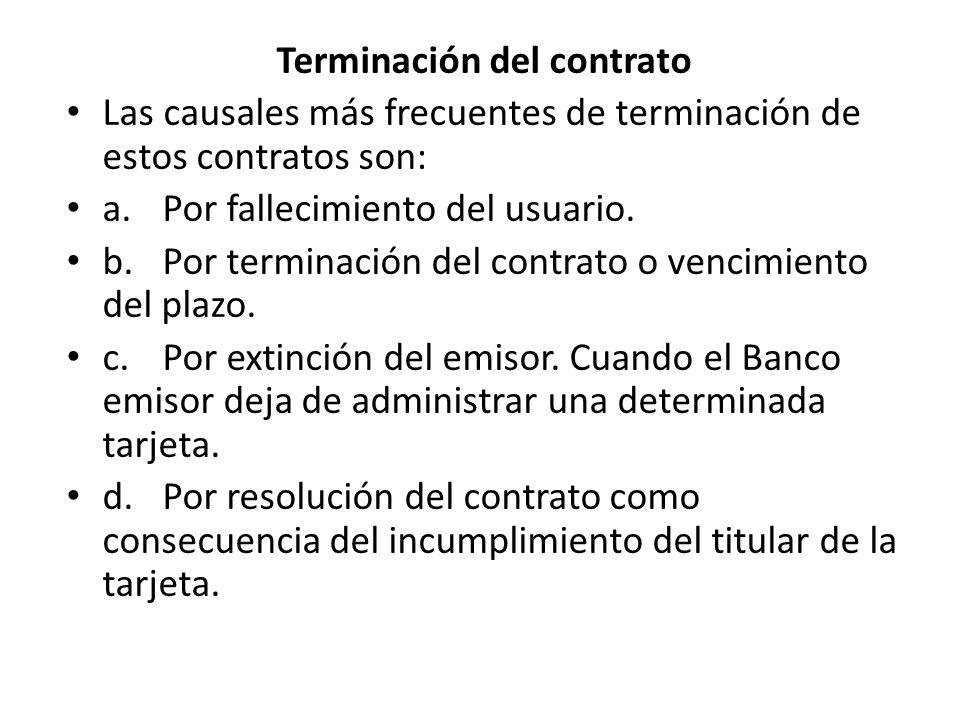 Terminación del contrato