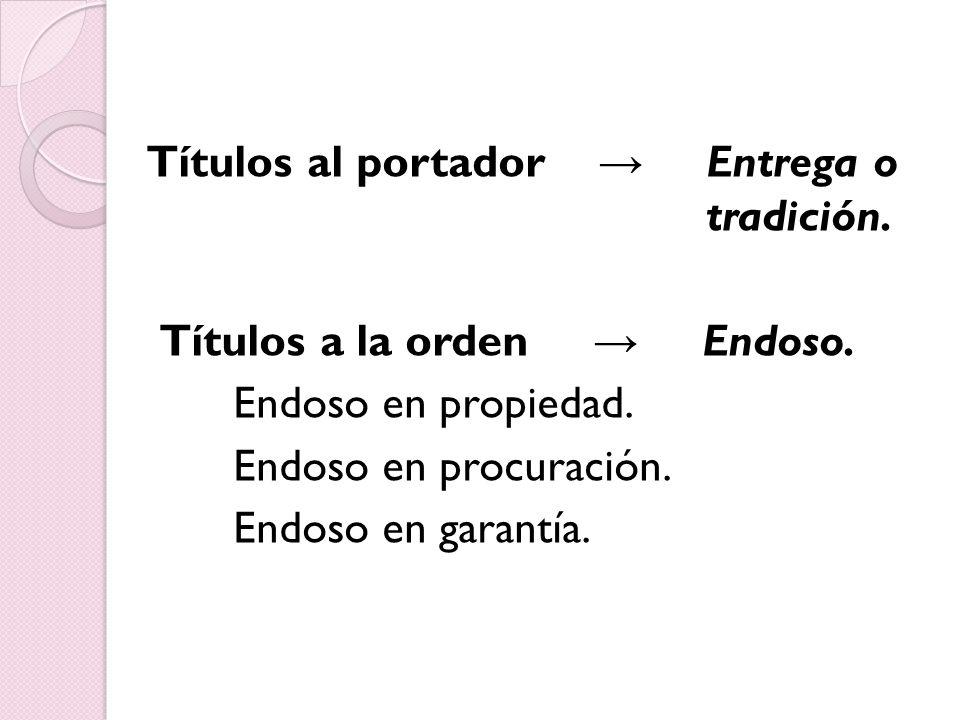 Títulos al portador → Entrega o tradición. Títulos a la orden → Endoso