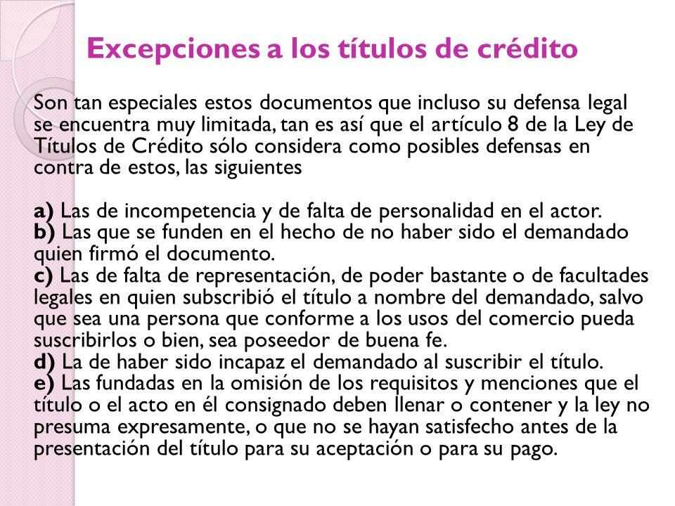Excepciones a los títulos de crédito