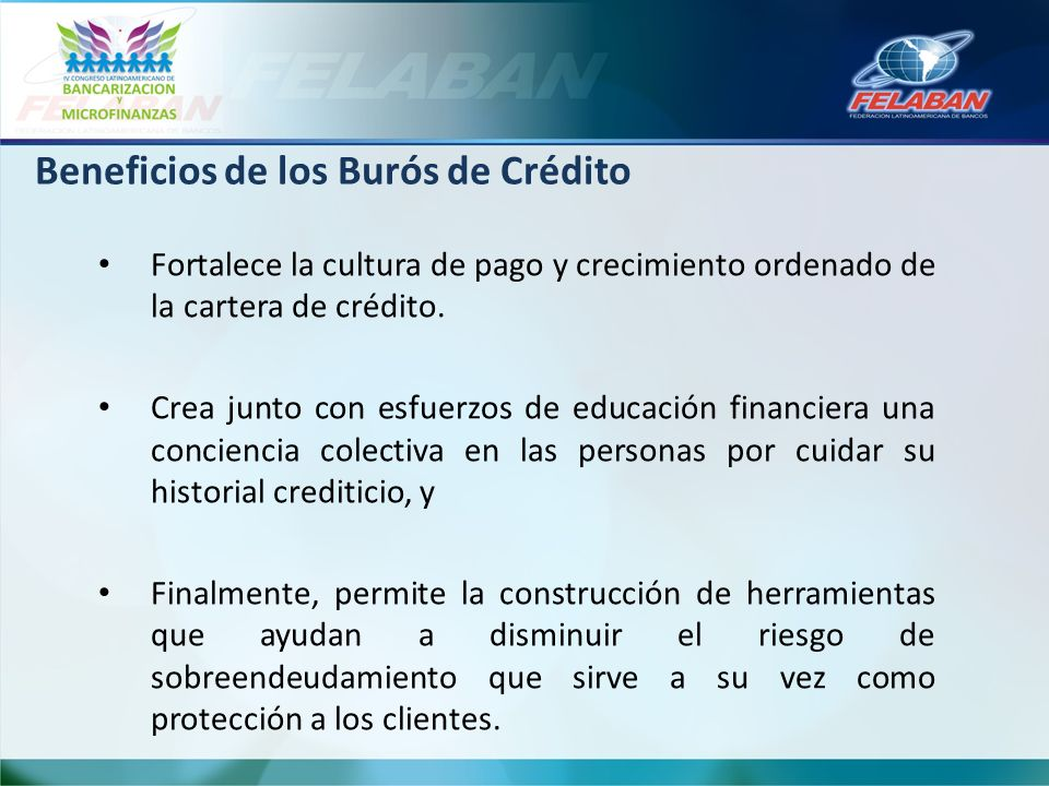 Beneficios de los Burós de Crédito
