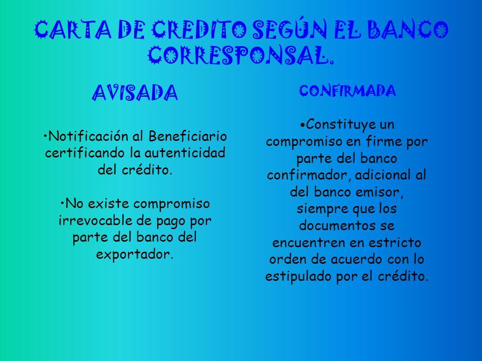 CARTA DE CREDITO SEGÚN EL BANCO CORRESPONSAL.