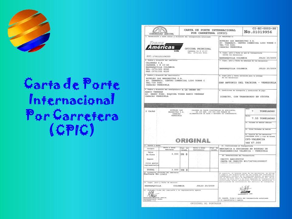 Carta de Porte Internacional Por Carretera (CPIC)