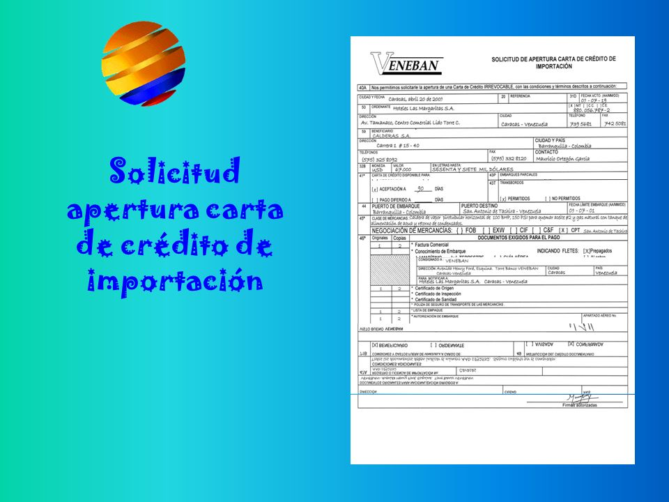 Solicitud apertura carta de crédito de importación