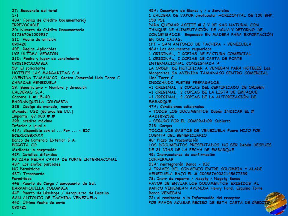 27: Secuencia del total 1/1 40A: Forma de Crédito Documentario} IRREVOCABLE 20: Número de Crédito Documentario 017367061009937 31C: Fecha de emisión 090420 40E: Reglas Aplicables UCP ÚLTIMA VERSIÓN 31D: Fecha y lugar de vencimiento 090819COLOMBIA 50: El solicitante HOTELES LAS MARGARITAS S.A. AVENIDA TAMANACO, Centro Comercial Lido Torre C CARACAS VENEZUELA 59: Beneficiario - Nombre y dirección CALDERAS S.A. Carrera 1 # 15-40 BARRANQUILLA COLOMBIA 32B: Código de moneda, monto Moneda: USD (dólares EE.UU.) Importe: 67.000 # # 39B: crédito máximo Inferior o igual a 41A: disponible con el ... Por ... - BIC BCEXCOBBXXXX Banco de Comercio Exterior S.A. BOGOTA CO Mediante la aceptación 42P: Detalles diferidos 90 DÍAS FECHA CARTA DE PORTE INTERNACONAL 43P: Los envíos parciales NO Permitidos 43T: Transbordo Permitidos 44E: Puerto de Carga / aeropuerto de Sal. BARRANQUILLA COLOMBIA 44F: Puerto de Dischrge / Aeropuerto de Destino SAN ANTONIO DE TACHIRA VENEZUELA 44C: Última fecha de envío 090725 .