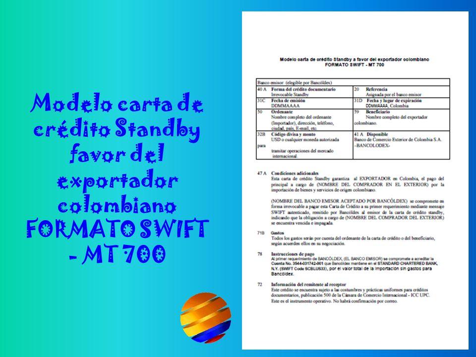 Modelo carta de crédito Standby favor del exportador colombiano