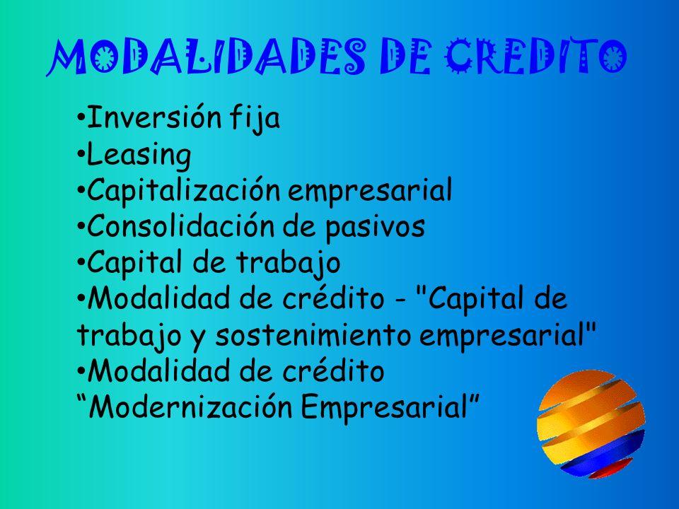 MODALIDADES DE CREDITO