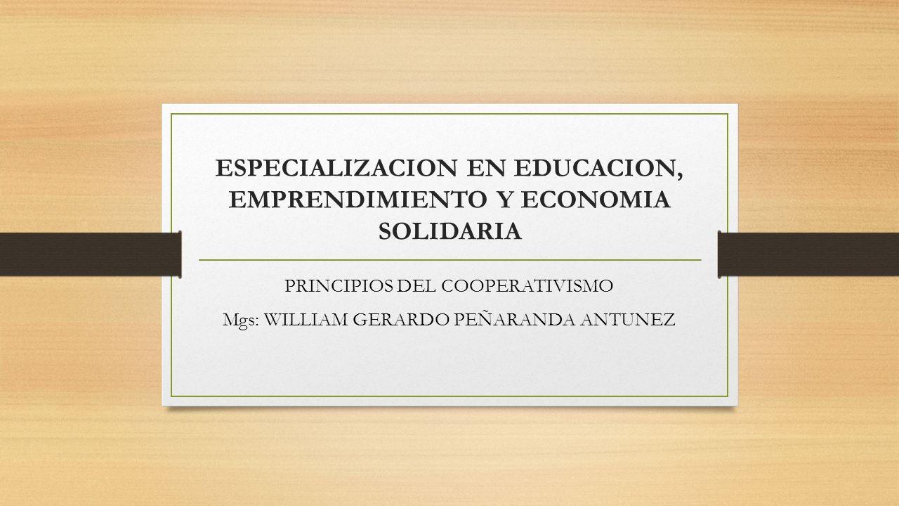 ESPECIALIZACION EN EDUCACION, EMPRENDIMIENTO Y ECONOMIA SOLIDARIA
