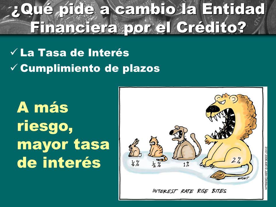 ¿Qué pide a cambio la Entidad Financiera por el Crédito