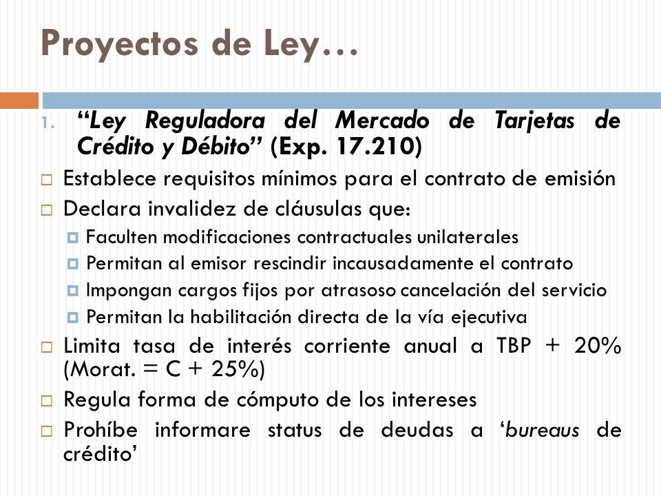 Proyectos de Ley… Ley Reguladora del Mercado de Tarjetas de Crédito y Débito (Exp. 17.210)