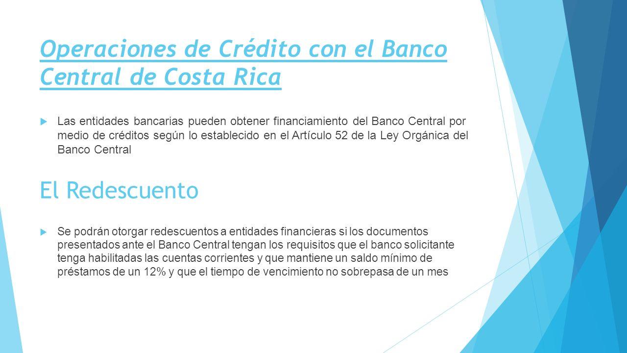Operaciones de Crédito con el Banco Central de Costa Rica