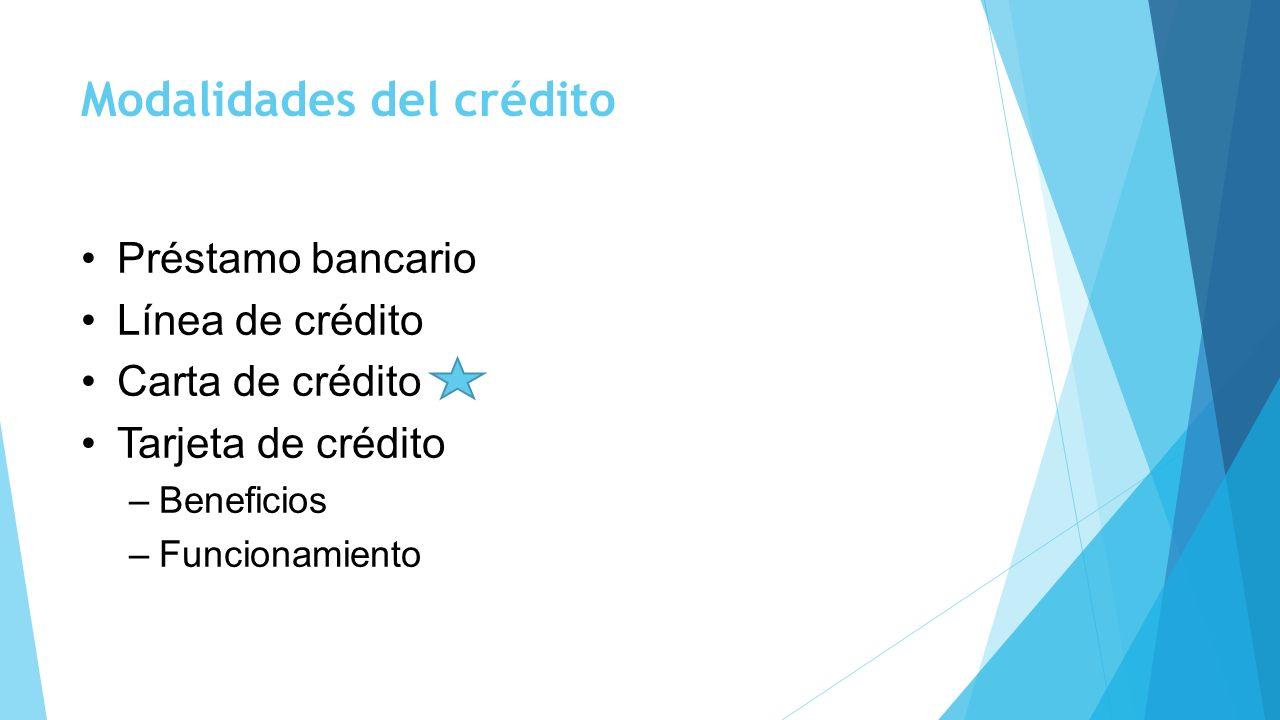 Modalidades del crédito