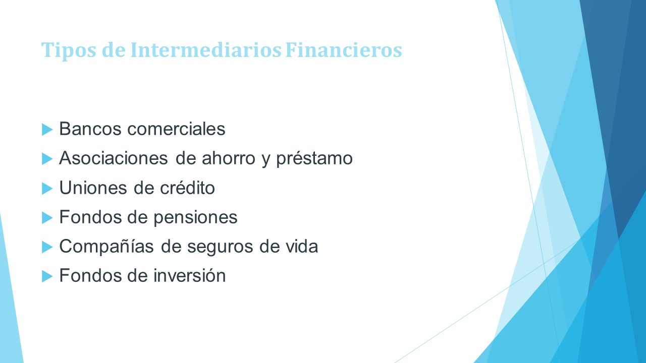 Tipos de Intermediarios Financieros