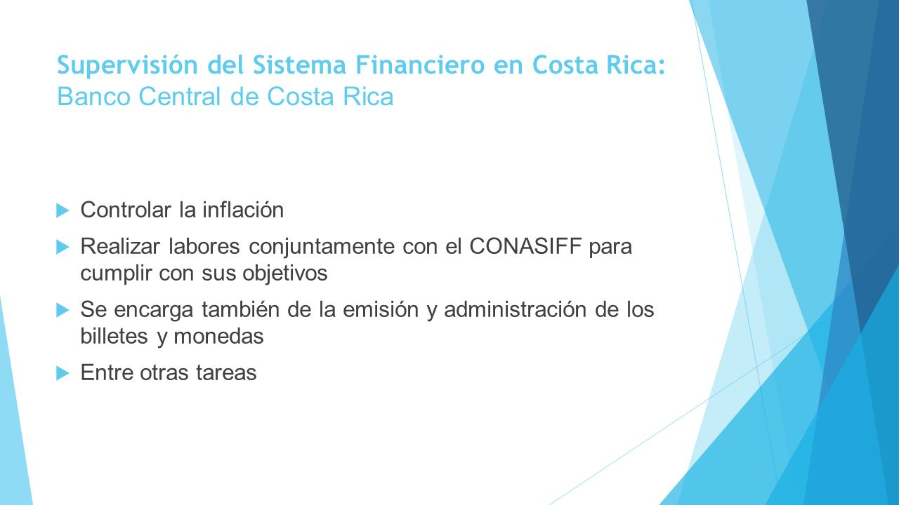 Supervisión del Sistema Financiero en Costa Rica: Banco Central de Costa Rica