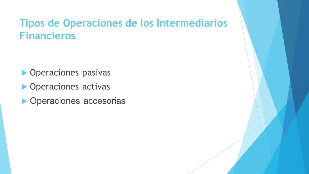 Tipos de Operaciones de los Intermediarios Financieros