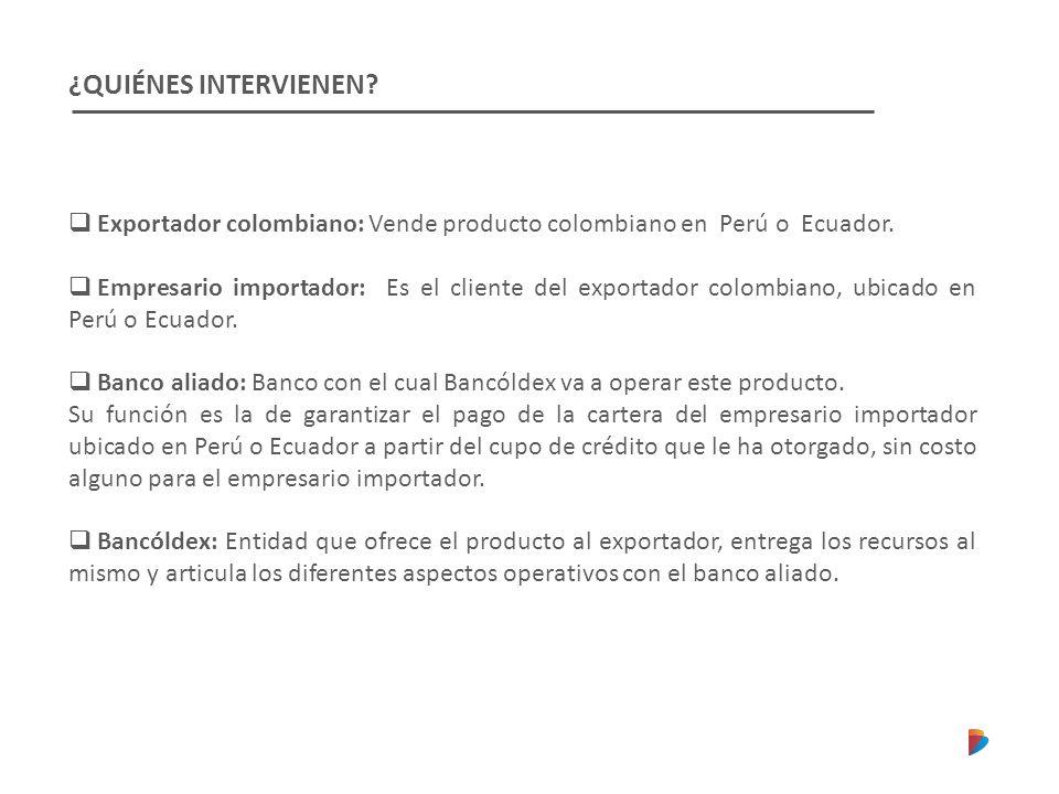 ¿QUIÉNES INTERVIENEN Exportador colombiano: Vende producto colombiano en Perú o Ecuador.