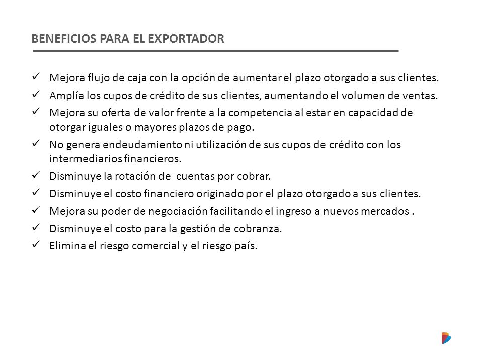 BENEFICIOS PARA EL EXPORTADOR