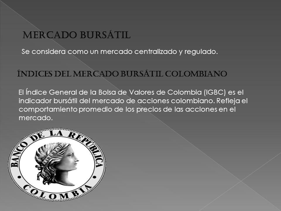 MERCADO BURSÁTIL Índices del mercado bursátil colombiano