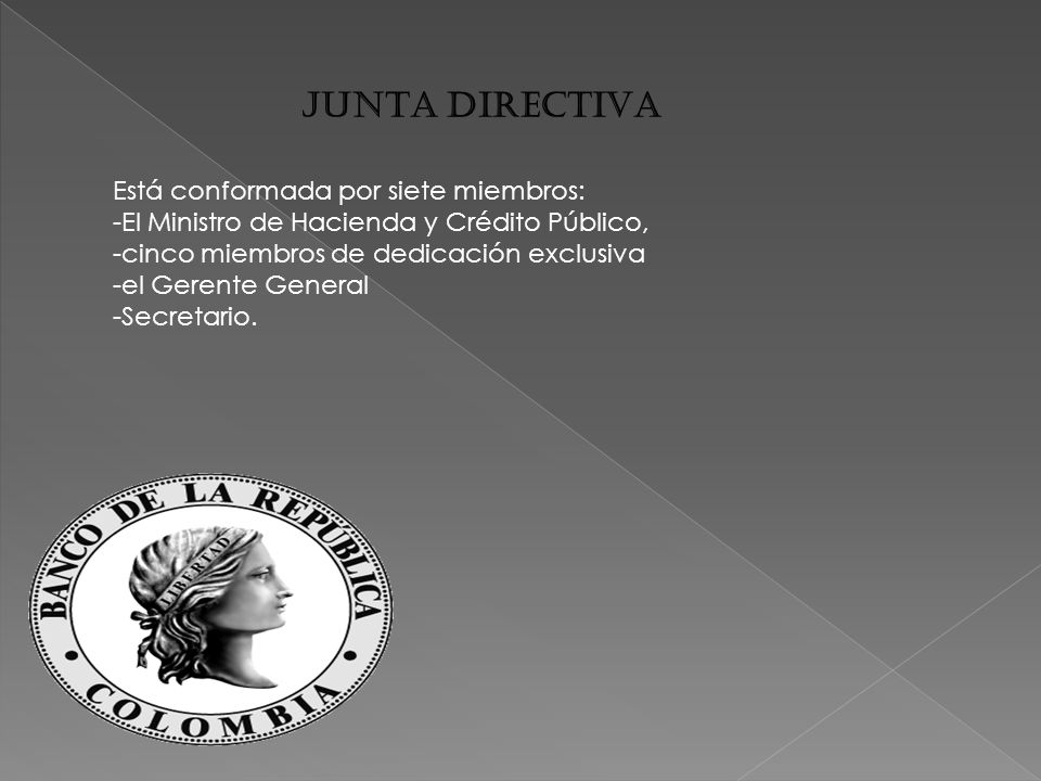 JUNTA DIRECTIVA Está conformada por siete miembros: