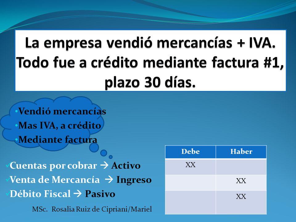 Vendió mercancías Mas IVA, a crédito Mediante factura