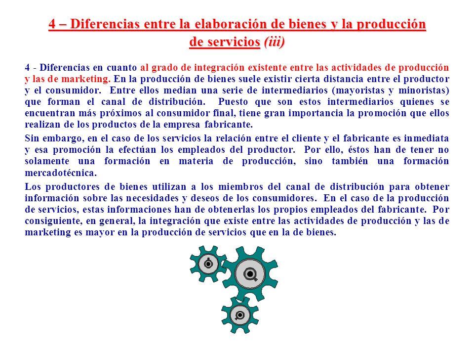 4 – Diferencias entre la elaboración de bienes y la producción de servicios (iii)