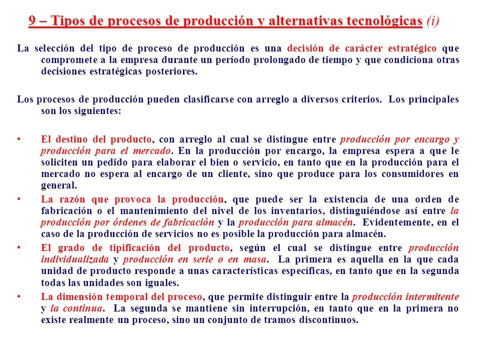 9 – Tipos de procesos de producción y alternativas tecnológicas (i)