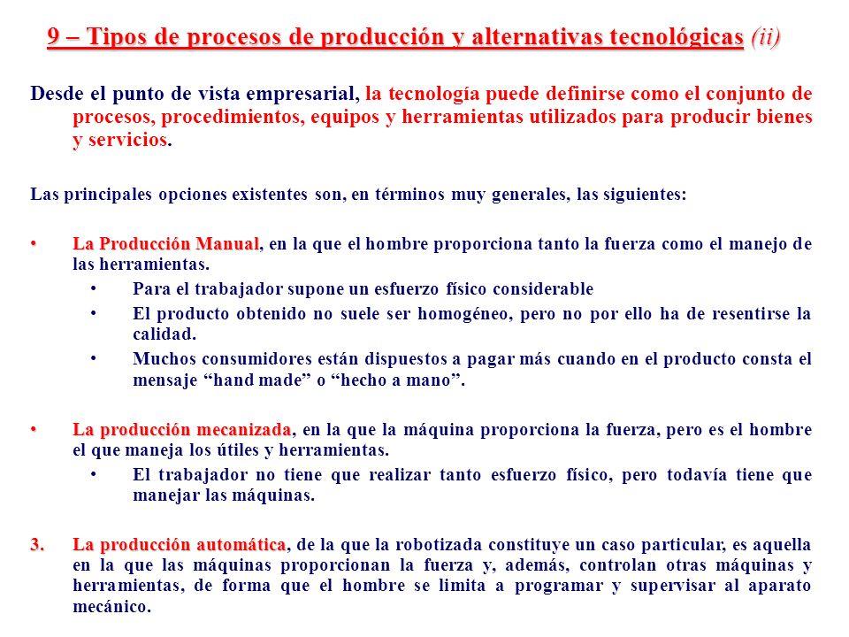 9 – Tipos de procesos de producción y alternativas tecnológicas (ii)