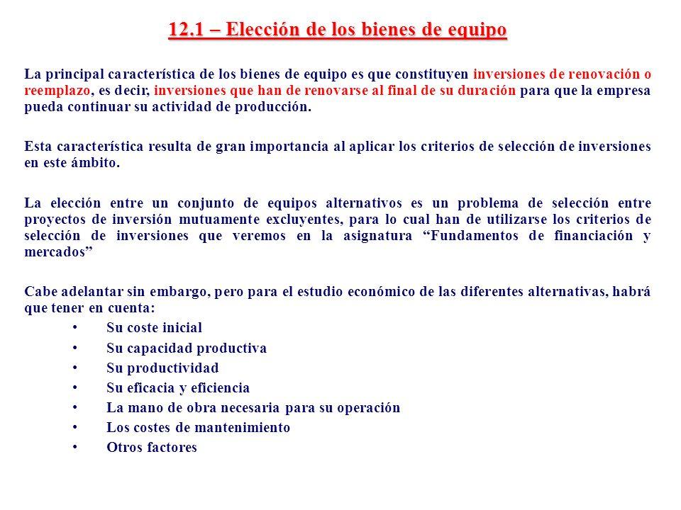 12.1 – Elección de los bienes de equipo