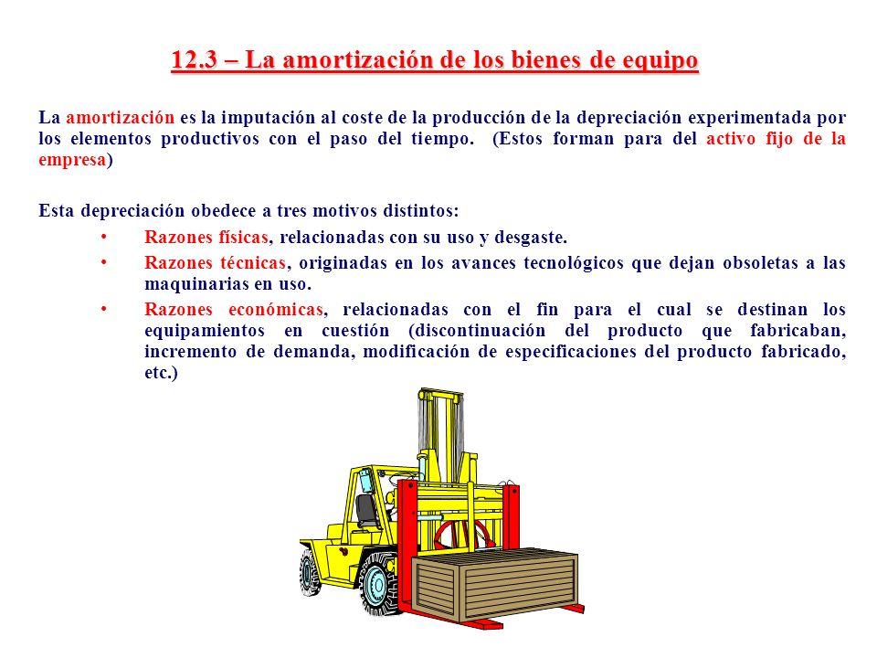 12.3 – La amortización de los bienes de equipo