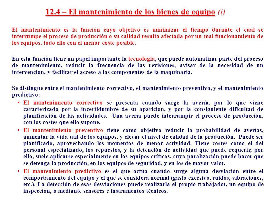 12.4 – El mantenimiento de los bienes de equipo (i)