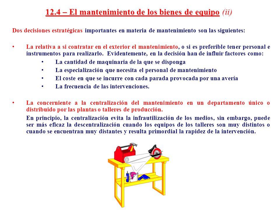 12.4 – El mantenimiento de los bienes de equipo (ii)