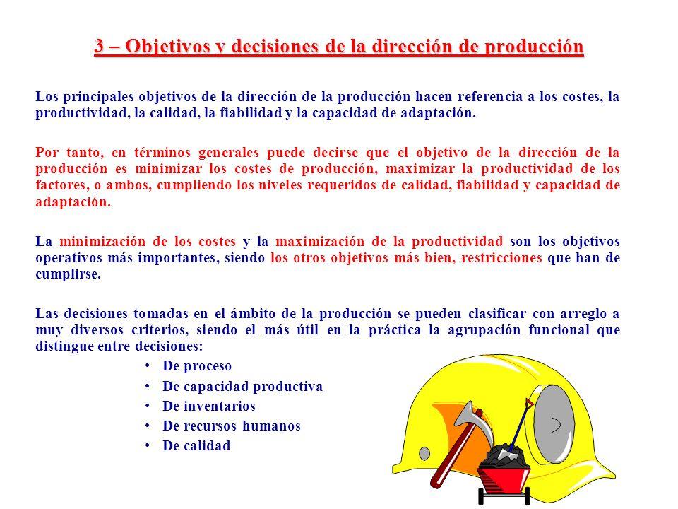3 – Objetivos y decisiones de la dirección de producción