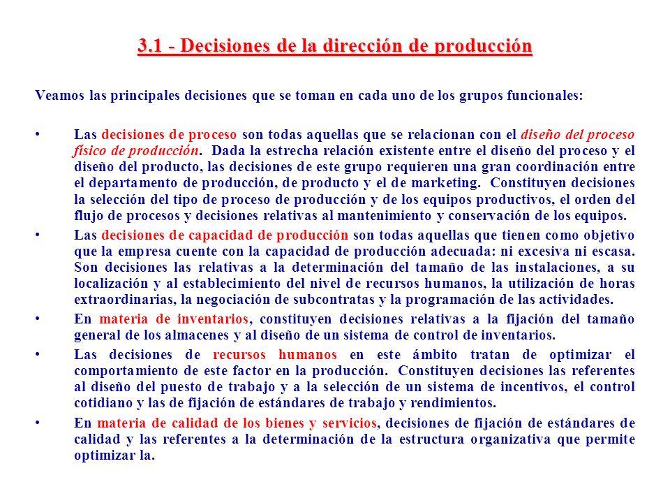 3.1 - Decisiones de la dirección de producción
