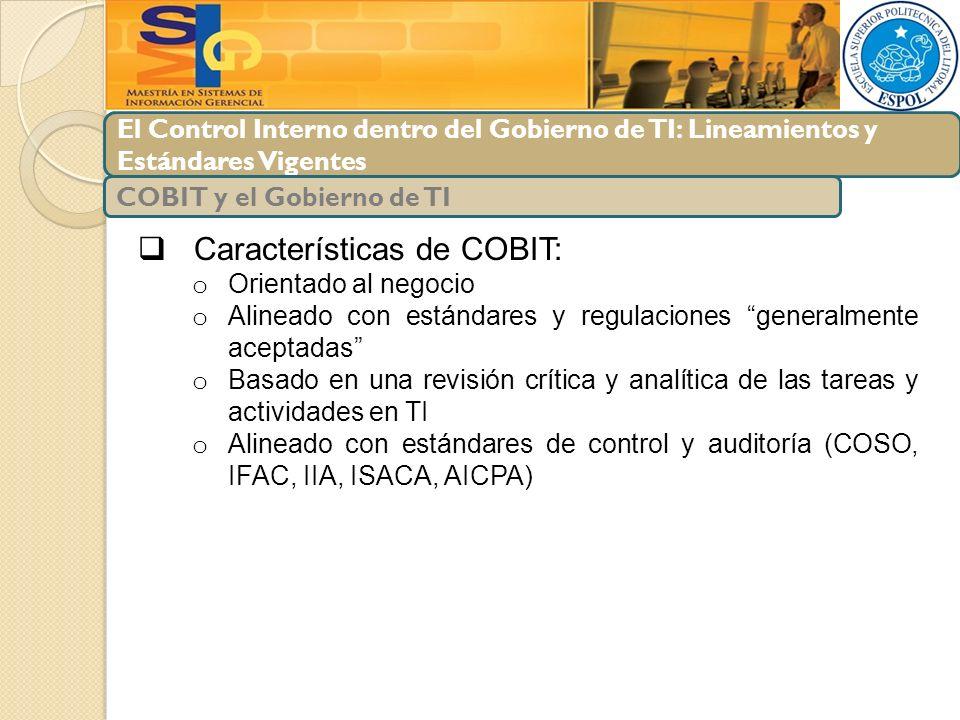 Características de COBIT:
