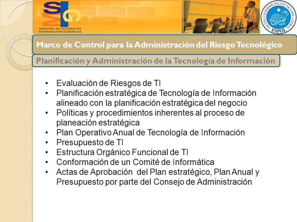 Marco de Control para la Administración del Riesgo Tecnológico