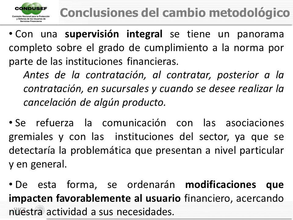 Conclusiones del cambio metodológico