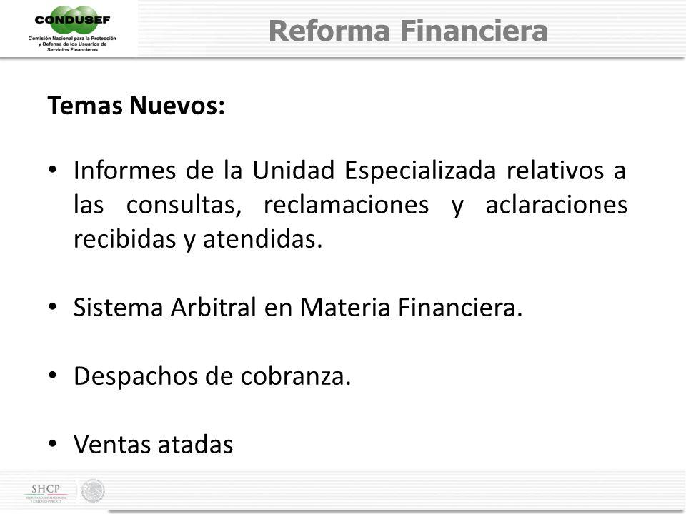 Reforma Financiera Temas Nuevos: Informes de la Unidad Especializada relativos a las consultas, reclamaciones y aclaraciones recibidas y atendidas.