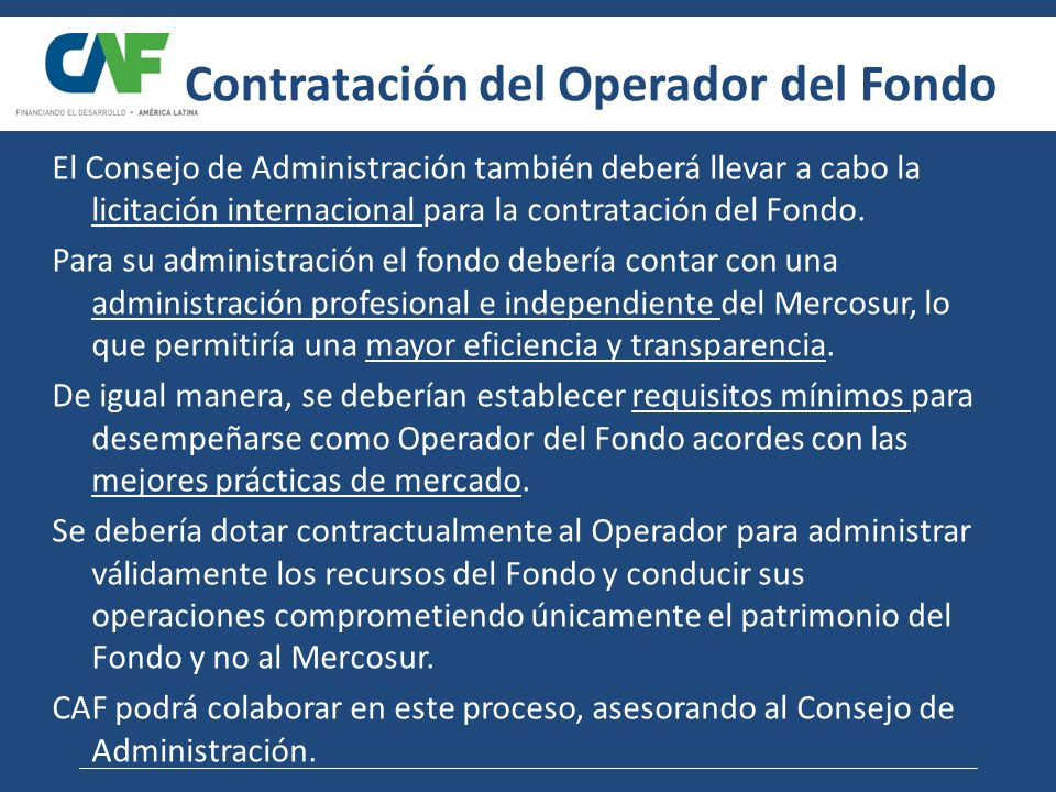 Contratación del Operador del Fondo