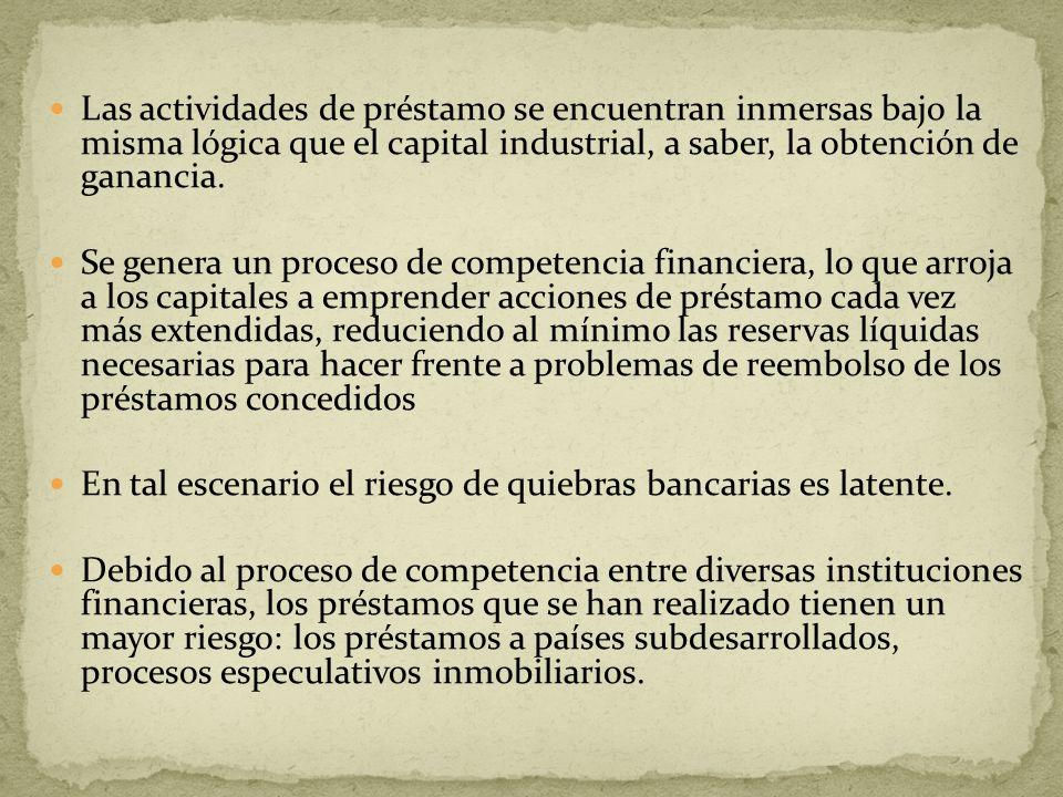 Las actividades de préstamo se encuentran inmersas bajo la misma lógica que el capital industrial, a saber, la obtención de ganancia.
