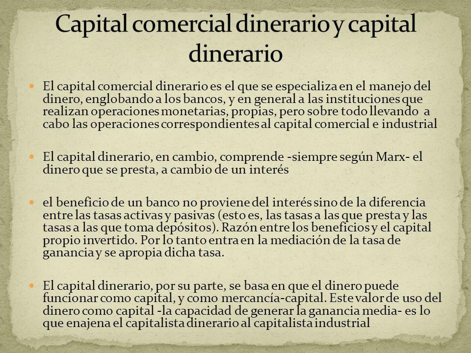 Capital comercial dinerario y capital dinerario