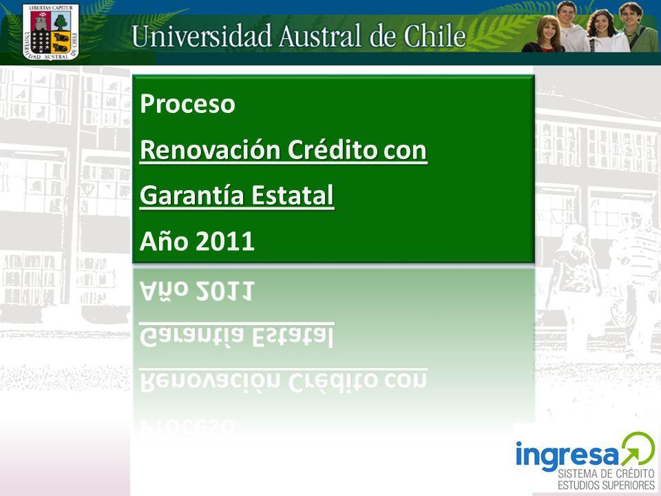 Proceso Renovación Crédito con Garantía Estatal Año 2011