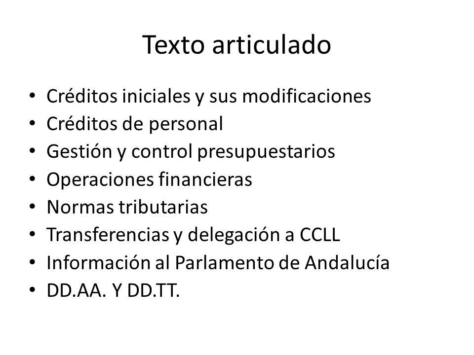 Texto articulado Créditos iniciales y sus modificaciones