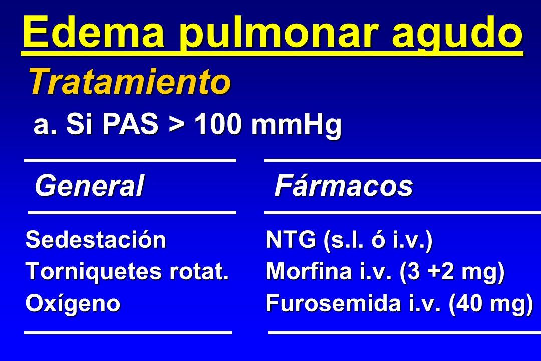 Edema pulmonar agudo Tratamiento a. Si PAS > 100 mmHg