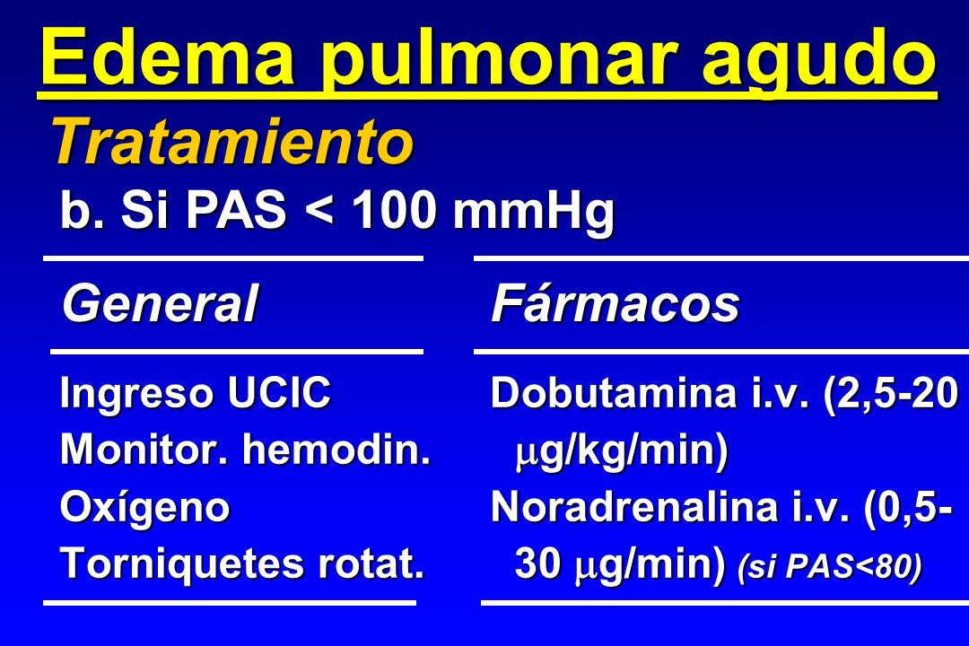 Edema pulmonar agudo Tratamiento b. Si PAS < 100 mmHg