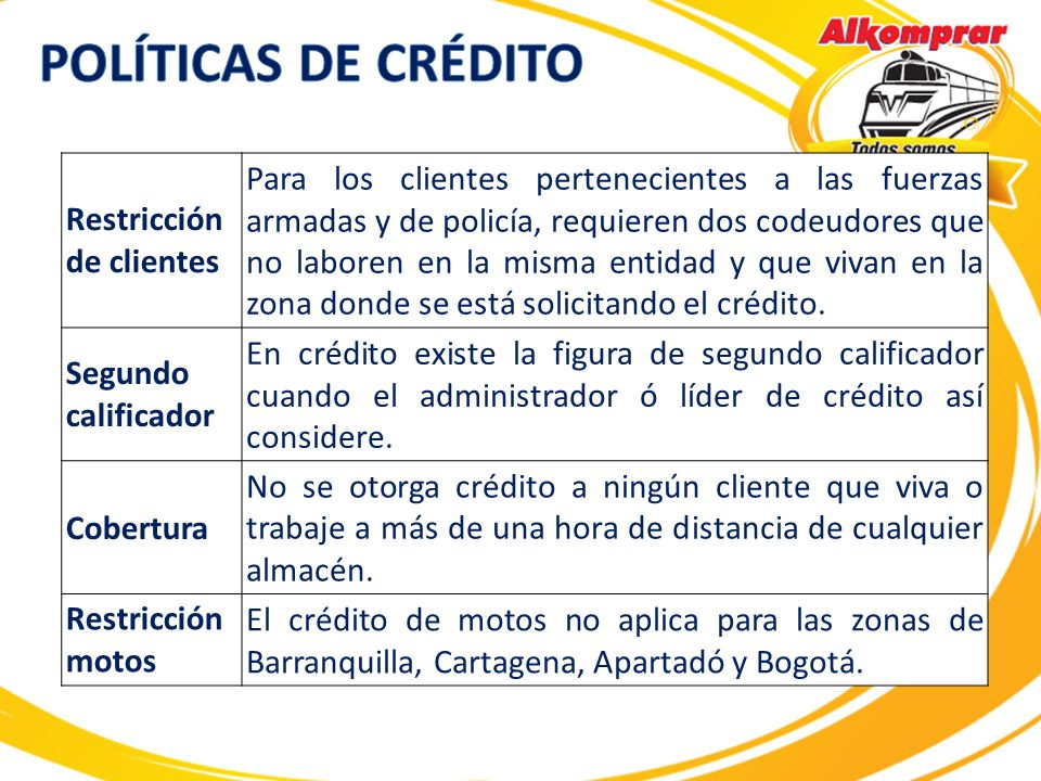 POLÍTICAS DE CRÉDITO Restricción de clientes