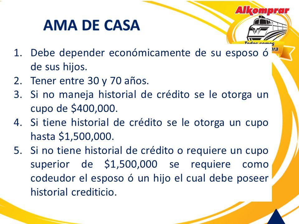 AMA DE CASA Debe depender económicamente de su esposo ó de sus hijos.
